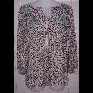 Umgee floral embroidery tie tassel peasant top
